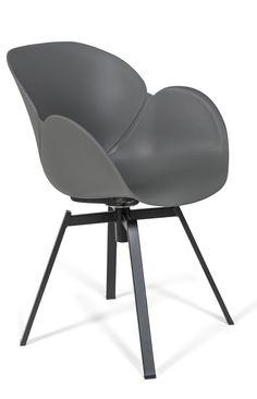 Davos - kunststof - draaibaar - vergaderstoel - design meubel - kantoormeubelen - grijs