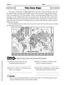 Defined Time Zone Map And Questions Worksheet Name Date Period