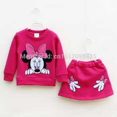 baby girls clothing sets minnie mouse 2014 winter children's wear cotton tracksuits kids clothes sports suit shirt+casual dress