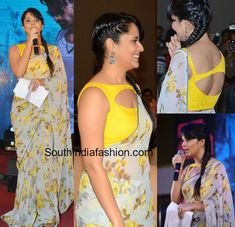 Anchor Anasuya hosted the audio launch of ISM wearing a light grey floral saree teamed with contrast yellow boat neck cut out blouse. Blouse Neck Patterns, Designer Blouse Patterns, Blouse Neck Designs, Yellow Saree, Yellow Blouse, Kids Gown Design, Latest Silk Sarees, Bridesmaid Saree, Half Saree Designs