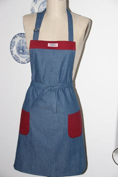 Full Apron . Jean and Red Apron. Kitchen Apron by SouthernAplus