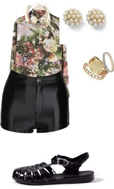 """leather and floral"" by lowekendra ❤ liked on Polyvore"