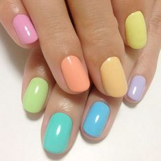 multicolored nails summer colorful nails pastel shades  #top #nails #trends