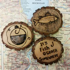 One of a Kind Wood burned Fishing Magnets by wireandwoodstudio on Etsy