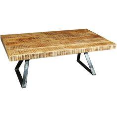 Wanderloot La Brea Industrial Hand Planed Mango Wood And Metal Coffee Table  (India)