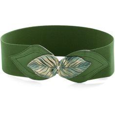 Can't Leaf It Be Belt in Green ($16) ❤ liked on Polyvore featuring accessories, belts, jewelry, green, bracelets, fake belts, metal belt ve green belt