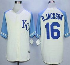 Kansas City Royals Jersey 16 Bo Jackson Cream Exclusive Vintage Jerseys