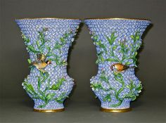 A Pair of Snowball Vases (Blue)Meissen Late 19th Century