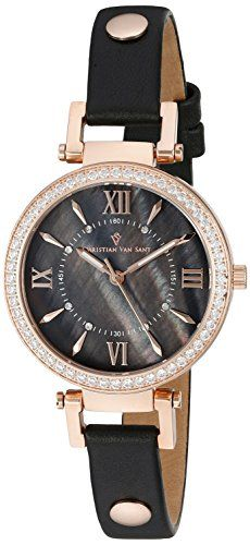 Christian Van Sant Womens CV8135 Petite Analog Display Swiss Quartz Black Watch -- Read more  at the image link.