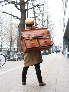 Oversized men's leather bag