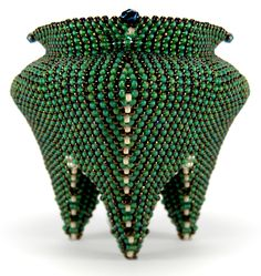 Untitled by artist Julia S. Pretl. Peyote stitched beaded basket, 3.25 x 3 in. via the artist's site beadcave