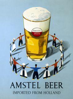 Amstel beer from Holland Vintage Advertising Posters, Vintage Advertisements, Vintage Posters, Beer Poster, Poster Ads, Vintage Labels, Vintage Ads, Guinness Advert, Sous Bock
