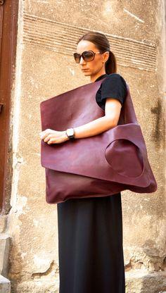 NUEVO Borgoña cuero bolso / alta calidad Tote Bag por Aakasha