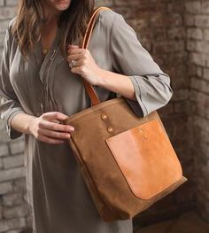 Jayne Waxed Canvas & Leather Tote Bag