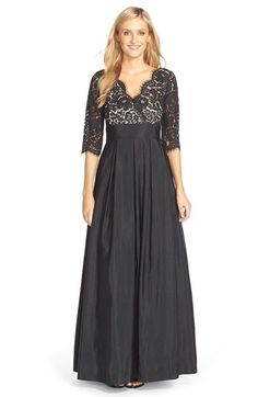 Titanic Style Dresses & Costumes for Sale Womens Eliza J Lace  Faille A-Line Gown Size 4 - Black $248.00 AT vintagedancer.com