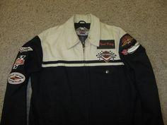 Vintage Harley Davidson Motorcycles Road King Embroidered Jacket Coat Cotton L