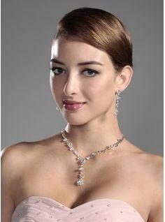 brille tchèque en alliage chromé de noces strass mis bijoux, y compris le collier et boucles d'oreilles(011006978)