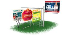 Yard Signs Featuring:      Rigid Outdoor Signs -       1 or 2 sided -       Next Day Available -       Fade Resistant -  Water Resistant,  Order now! 760-413-7747