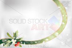 stock illustration of neutral christmas background with ribbon holly mistletoe and place for text