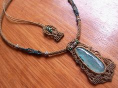 Macrame and gemstone necklace
