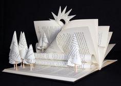 "Livre-sculpture ""le bois de la lecture"" - Libro-escultura ""el bosque de la Lectura"" - Altered book"