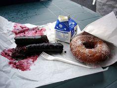 "Finnish ""Mustamakkara"" (Blood Sausage) w Doughnut and Milk"