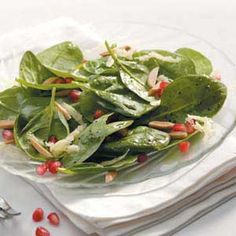 Pomegranate Spinach Salad Recipe from Taste of Home -- shared by Sheila Saunders of Pleasant Grove, Utah health naturally health tips eating health solutions Healthy Cooking, Healthy Eating, Cooking Recipes, Healthy Recipes, Pomegranate Salad, Pomegranate Recipes, Great Recipes, Favorite Recipes, Spinach Salad Recipes
