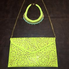 Fluorescent Yellow & Gold Statement Necklace Fluorescent Yellow & Gold Statement Necklace. Very Bold & Vibrant! Gold Studding with a hint of mint green beading. Certainly a must have if you wanna make a statement!!! BNWOT! Never used! Jewelry Necklaces