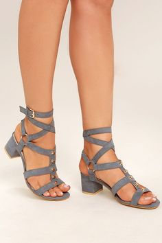 Go ahead and get your rocker babe on with the Galina Grey Suede Studded Leg  Wrap 56b0258087e