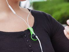 A simple solution to hold your earbuds' cord in place. Secure it with Bud Buttons and it won't dangle, flail around, or catch on things.