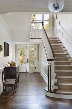 Stair carpet, railing finish & floor color