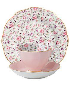 Royal Albert Dinnerware, Rose Confetti 3-Piece Set - Fine China - Dining & Entertaining - Macy's