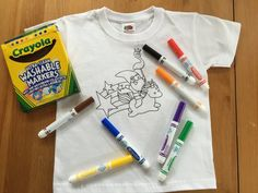Kids Colouring Shirt, Rainbow Gnome Unicorn Colour Your Own Shirt, Stars Wash and Re-use Colour In TShirt, Flamingo Childs Washable Colours