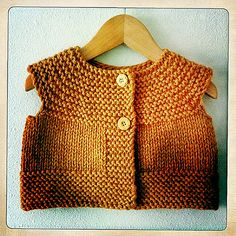 Free baby vest pattern for the 1 yr size. I increased the size of the armholes. Quick, cute knit!