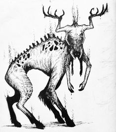 Olivia Rampaige - Don't let it scent your fear. 👹 The Jötunn forest creature from the Ritual. Coolest monster I - Creepy Drawings, Dark Art Drawings, Dark Creatures, Forest Creatures, Monster Drawing, Monster Art, Monster Sketch, Arte Horror, Horror Art