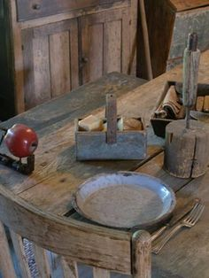Sweet Liberty Homestead old leather handled soap box and candle holder. Come follow us at Shannon McConnachie as we're tearing down a barn, building a little house room. Come follow our new board to come and watch it in the making! Should be lots of prim fun!
