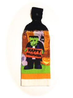 Frankenstein Hand Towel With Black Crocheted by MeAndMomsCrafts