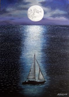 Sailing in the moonlight, oil painting on canvas 50x70 cm. Ordered by a friend, who wanted it from a photo... but I've made my own interpretation :)