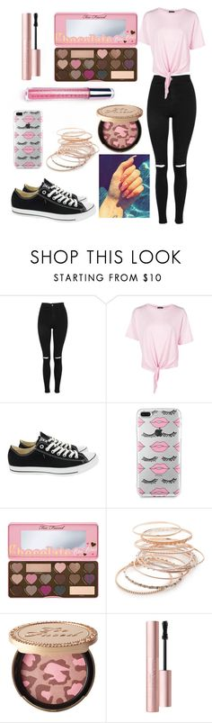 """""""Untitled #661"""" by natalia-tommo ❤ liked on Polyvore featuring Topshop, Boohoo, Converse, Too Faced Cosmetics and Red Camel"""