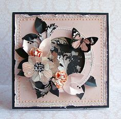 shabby chic in pink and black..luv hw the butterfly, flowers and leaves are arranged...