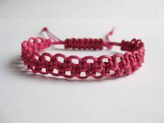 Instant Download PATTERN Rose Pink Macrame Bracelet Pattern - Macrame Bracelet Tutorial - Macrame Bracelet pdf - Adjustable Clasp Tutorial
