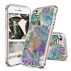 iPhone 6 Plus Case, Clear iPhone 6s Plus Case, MOSNOVO Tropical Palm Tree Leaves Clear Design Printed Transparent Hard Back Case with TPU Bumper Protective Cover for Apple iPhone 6/6s Plus (5.5 Inch)