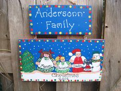 Personalized Christmas Family Plaque or Sign by LazyHoundWorkshop, $16.00