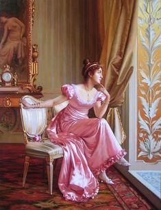 Vittorio Reggianini — woman in pink gown painting Victorian Paintings, Victorian Art, Victorian Women, Classic Paintings, Old Paintings, Beautiful Paintings, Regency Dress, Classical Art, Renaissance Art