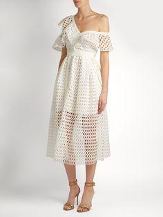 One-shoulder guipure-lace midi dress | Self-portrait | MATCHESFASHION.COM US