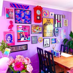 Neon Eclectic Gallery Wall In Dining Room