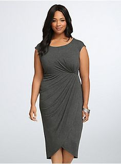 "<p>A flattering and oh-so-comfy style that can easily be dressed up or down? Yup, we've done the impossible with this charcoal grey midi dress. The tulip front of this super-soft style adds movement, while side shirring flatters you in all the right places.</p>  <p> </p>  <p><b>Model is 5'11"", size 1</b></p>  <ul> 	<li>Size 1 measures 44 1/2"" from shoulder</li> 	<li>Polyester/rayon/spandex</li> 	<li>Wash cold, dry flat</li> 	<li>Imported plus size dress</li> </ul>"