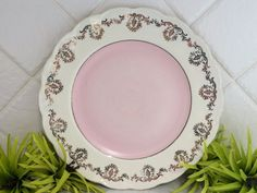 PERFECT FOR DISPLAYING PRETTY CUPCAKES - Vintage Grindley Cream Petal - Pale Pink and Gold Scalloped Plate