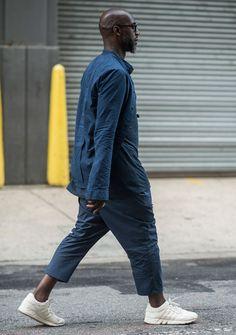 http://chicerman.com  billy-george:  Awesome navy styles  New York Fashion Week: Mens  Photo Courtesy Of BFA  #streetstyleformen