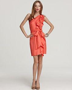 Coral cascade dress